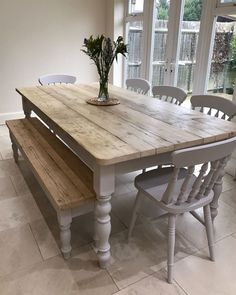 New Farmhouse dining room table and chairs. DIY farmhouse table and gray armchair with nail head details. A beautiful Neutral Modern Farmhouse Dining Room Read Country Furniture, Farmhouse Furniture, Country Decor, Farmhouse Decor, Farmhouse Ideas, Furniture Ideas, Furniture Stores, Farmhouse Interior, Antique Furniture