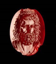 Carnelian oval gem with Zeus Serapis. Greek. Hellenistic Period. 2nd–1st century B.C. | Museum of Fine Arts, Boston