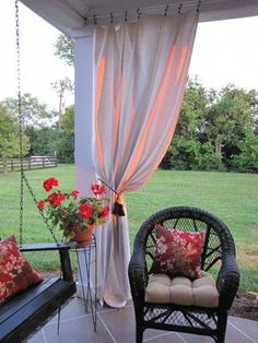 Drop cloth curtains:Love this idea! The drop cloths were less than 10 dollars a piece at Home Depot. (Remember, Home Depot drop cloths do NOT have seams down the middle, Lowe's drop cloths do. If I ever get that Pergola! Outdoor Rooms, Outdoor Gardens, Outdoor Living, Outdoor Decor, Outdoor Blinds, Back Patio, Backyard Patio, Diy Patio, Patio Ideas