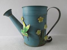 Metal Watering Can Vintage 3-D Hummingbird and by HobbitHouse