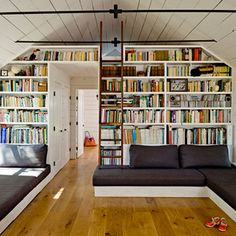 built-ins conforming to slanted roof shape