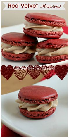 red velvet macarons with cinnamon cream cheese frosting