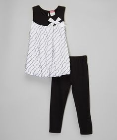 Look at this #zulilyfind! White & Black Bow Top & Leggings - Infant & Toddler by Angel Face #zulilyfinds