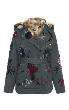 Embroidered Wool Parka With Fur Lining by ZUHAIR MURAD for Preorder on Moda Operandi