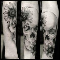 #sunflowers #skulls #skull #tattoo #tattoos #flowertattoo   Artist: Damien Ornelas  Instagram: damienart  Tattoo Shop: My Tattoo (Huntington Beach, CA)