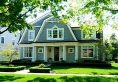 Has a lot of angles to the roof line. Gives a curb appeal to a home. Makes the house look smaller with the dome shape pointing lower to the ground. Dutch Colonial Exterior, Dutch Colonial Homes, Cottage Design, House Design, Roof Design, Shingle Style Homes, Gambrel Roof, House Roof, Architecture
