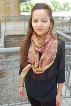 Yazzie is full of creative ways to tie her #fairtrade #silk #scarf, made by talented women in #India!  This super-feminine scarf is available at www.fairanita.com.  Fair Anita is a social enterprise that's committed to creating opportunities for women around the world. #fashion