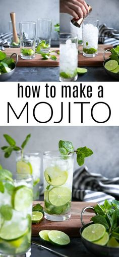 The Mojito (a Cuban classic) is a refreshing mix of rum, sugar, fresh lime juice, mint leaves, and bubbly club soda. Learn how to make a Mojito and enjoy this simple and delicious cocktail all year long. Party Drinks Alcohol, Alcohol Drink Recipes, Fun Drinks, Yummy Drinks, Healthy Drinks, Beverages, Healthy Food, Fireball Recipes, Drinks Logo
