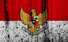 Download wallpapers Indonesian flag, 4k, grunge, flag of Indonesia, Asia, Indonesia, national symbols, coat of arms of Indonesia, Indonesian coat of arms, Indonesia national emblem