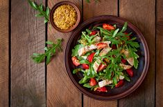 Chicken Salad Arugula Strawberries Top View Stock Photo (Edit Now) 289428791 The Kitchen Food Network, Salad Recipes, Healthy Recipes, Healthy Meals, Strawberry Topping, Shellfish Recipes, Salad Bar, Arugula, Nutrition Tips