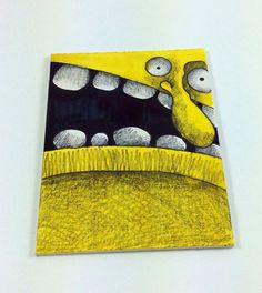 Yellow Monster Art Card by Aaron Butcher on Etsy, $5.00