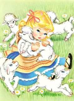 cute illustration of little bo peep and her sheep Retro Kids, Illustration Mignonne, Little Bo Peep, Kids Story Books, Decoupage, Children's Book Illustration, Graphic Illustrations, Vintage Children's Books, Kids Prints