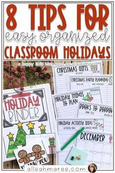 Need to stay organized in your classroom this holiday? Check out these 8 easy tips for keeping all the details about parties, celebrations, and fun activities in order and running smoothly!