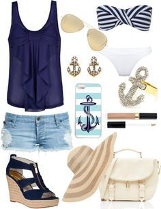 """""""summer"""" by keighangodmer on Polyvore- everything but the hat and the swim suit"""