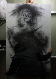 charcoal on canvas Drawing, Fine Arts ooooooh my god. Life Drawing, Figure Drawing, Painting & Drawing, Manga Drawing, Drawing Tips, Amazing Paintings, Amazing Art, Arte Sketchbook, A Level Art