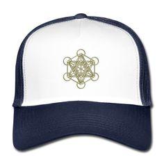 Trucker Cap Metatrons Cube gold 3D Cube, 3d, Hats, Straight Lines, Hat
