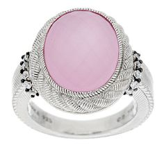 Judith Ripka Sterling Oval Doublet Gemstone and Diamonique Ring