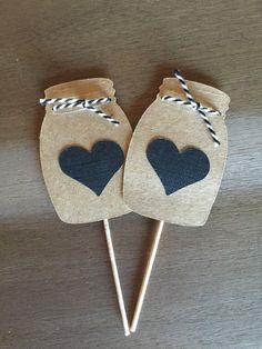 Tarro de masón Cupcake Toppers ~ hacer barbacoa ~ fiesta de pedida de barbacoa ~ parejas ducha ~ rústica boda Cupcake Topper ~ reunión familiar decoración ~ tarro de masón