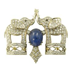 1stdibs | A Beautiful Cabochon Sapphire and Diamond Elephant Brooch