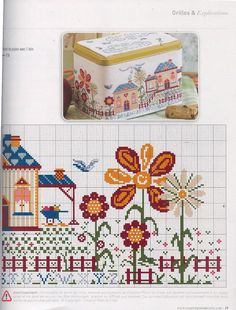 House Border 2 of 2 . Cross Stitch House, Mini Cross Stitch, Cross Stitch Borders, Cross Stitch Alphabet, Cross Stitch Flowers, Cross Stitching, Cross Stitch Embroidery, Cross Stitch Patterns, Stitch Witchery