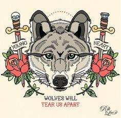 teen wolf, traditional tattoo design, joy division, roses, daggers, illustration, rik lee