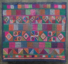 Vintage Pamee Akha cross stitched panel traditional hand