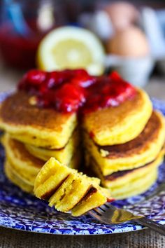 Lemon Cornmeal Pancakes with Strawberry Sauce via @EatLiveRun