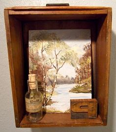Drawer made into a wall hanging/shelf.  Love it