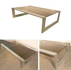 jean francois sergeant console en aluminium vernis et verre teinte edition societe a. Black Bedroom Furniture Sets. Home Design Ideas