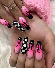There are three kinds of fake nails which all come from the family of plastics. Acrylic nails are a liquid and powder mix. They are mixed in front of you and then they are brushed onto your nails and shaped. These nails are air dried. Edgy Nails, Stylish Nails, Trendy Nails, Swag Nails, Pointy Nails, Fancy Nails, Simple Acrylic Nails, Summer Acrylic Nails, Summer Nails