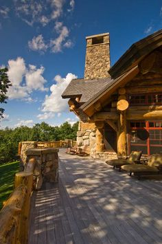 A deck is always the perfect addition to any log home!