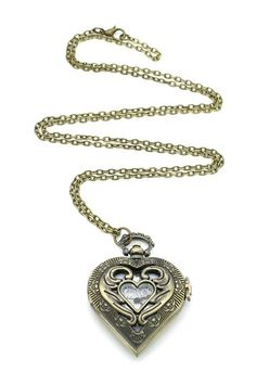 Heart pocket watch necklace