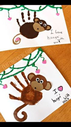 Handprint Monkey Card | DIY Ideas For Father's Day Cards