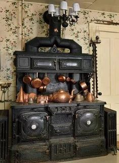 Victorian stove If you're interested in selling or buying a Victorian home Victorian plumbing fixtures or antiques anywhere in the country contact me www. Wood Stove Cooking, Kitchen Stove, Old Kitchen, Vintage Kitchen, Antique Wood Stove, How To Antique Wood, Victorian Kitchen, Victorian Homes, Kitchen Furniture