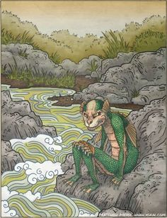 Suiko- Japanese myth: a violent and strong water goblin that rank above kappas. They had the body of a child, but with hard green scales and tiger claws on their kneecaps. They would pull humans under water to drink their blood and eat their soul.