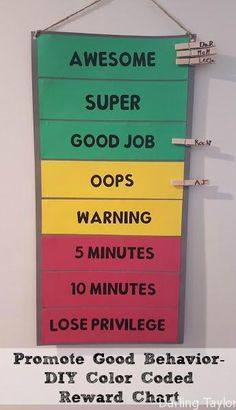Reward your child for good behavior - make this easy color coded reward chart for your home