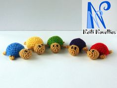 Small tortoises made by my own pattern :) Feel free to download it from my Craftsy pattern store http://www.craftsy.com/pattern/crocheting/toy/small-tortoise/196780?_ctp=196780&_ct=iuqhsx-kdyluhiqb-huikbj-fqjjuhd&NAVIGATION_PAGE_CONTEXT_ATTR=PATTERN