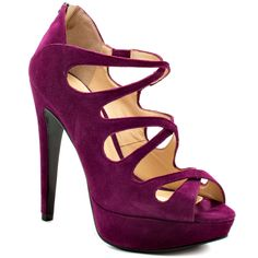 GUESS 'Ashmere' Plum Suede Peep-toe Criss-crossing Strappy covered Platform Heel