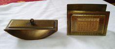 2 Vintage Arts Crafts Roycroft Hammered Metal Desk Calendar Holder Blotter Orb