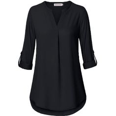 MOOSUNGEEK Women's V Neck Casual Chiffon 3/4 Roll-Up Sleeve Blouse... (€20) ❤ liked on Polyvore featuring tops, blouses, roll sleeve blouse, chiffon button down shirt, chiffon shirt, roll sleeve shirt and shirt blouse