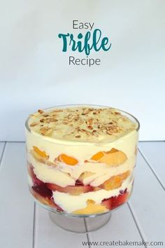 Five Approaches To Economize Transforming Your Kitchen Area Easy Trifle Recipe. This Classic Trifle Recipe Couldn't Be Easier To Put Together It's Perfect For Any Occasion And It Also Feeds A Crowd. Classic Desserts, Easy Desserts, Delicious Desserts, Dessert Recipes, Chef Recipes, Christmas Recipes, Fruit Trifle Desserts, Icebox Desserts, Recipies