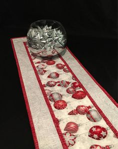 39 Long Silver and Red Christmas Runner Silver Quilted Table Runners Christmas, Christmas Runner, Table Runner And Placemats, Table Runner Pattern, Etsy Christmas, Christmas Sewing, Red Christmas, Christmas Crafts, Holiday