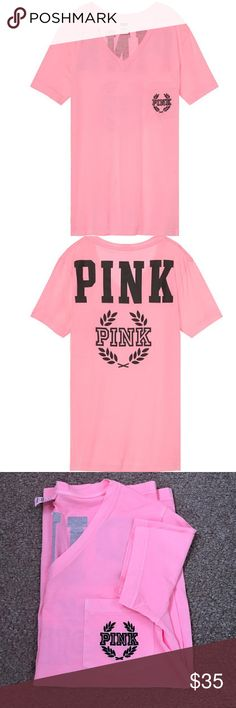 🆕Victoria's Secret Pink Tee #1 fave! This tunic-length tee features an oversized fit and v-neckline. Only by Victoria's Secret PINK.  Heavyweight 100% cotton Super oversized fit Imported cotton PINK Victoria's Secret Tops Tees - Short Sleeve