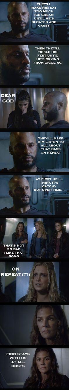 Oh, the torture! *faints* (The 100, Lincoln, Octavia, Abby, Clarke, Finn, Torture)