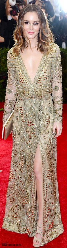 Leighton Meester wore a dress from the Emilio Pucci Autumn/Winter 2014 collection with Jimmy Choo heels to the 2014 MET Gala