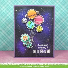 Card rocket austronaut planet galaxy star stars planets space travel journey Lawn Fawn Out of this world stamp set - planets as balloons balloon - lawn fawn out of this world Boy Cards, Kids Cards, Cute Cards, Tarjetas Diy, Lawn Fawn Blog, Slider Cards, Lawn Fawn Stamps, Interactive Cards, Copics