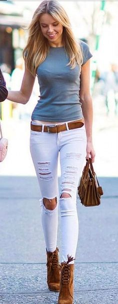 #Summer #Outfits / Jade T-Shirt + Ripped Skinny White Pants