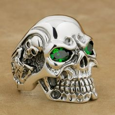 33bfed2ebdc8 LINSION 925 Sterling Silver Titan Skull Green CZ Stone Eyes Mens Biker Punk Ring  sterling silver jewelry 8V205 US Size 7~15-in Rings from Jewelry ...