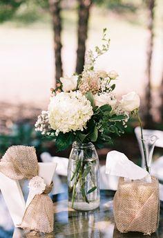 Cream roses, glass jars, rustic simplicity // Josh Deaton Photography