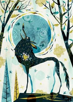 """☯☮ॐ American Hippie Bohemian Psychedelic Art ~ Whimsical Wolf """"Bark at the Moon""""."""
